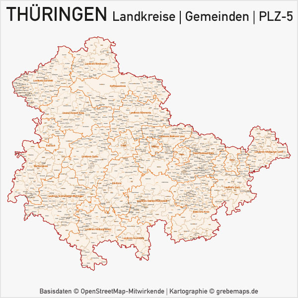 Thüringen Vektorkarte Landkreise Gemeinden PLZ-5Thüringen Vektorkarte Landkreise Gemeinden PLZ-5