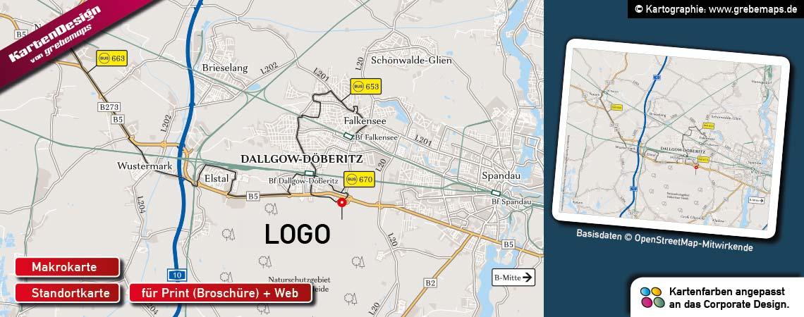 Karten für Immobilien, Standortkarte, Lageplan, Makrokarte, Umgebungskarte