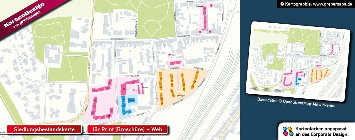Siedlungsbestandskarte erstellen, Karte Siedlungsbestand, Karte für Immobilien-Verwaltung