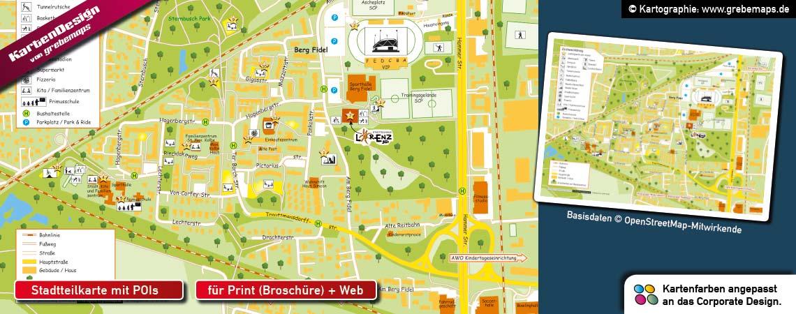 Stadtteilkarte erstellen, Karte Stadtteil mit POIs