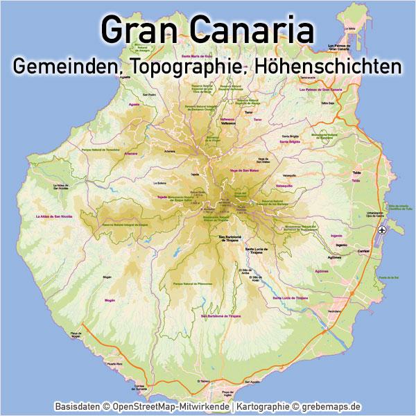 Vektorkarte Gran Canaria mit Topographie, Gemeindegrenzen, Höhenschichten