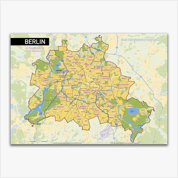 Karte Berlin Stadtplan Stadtbezirke Stadtteile Topographie Vektorkarte Berlin