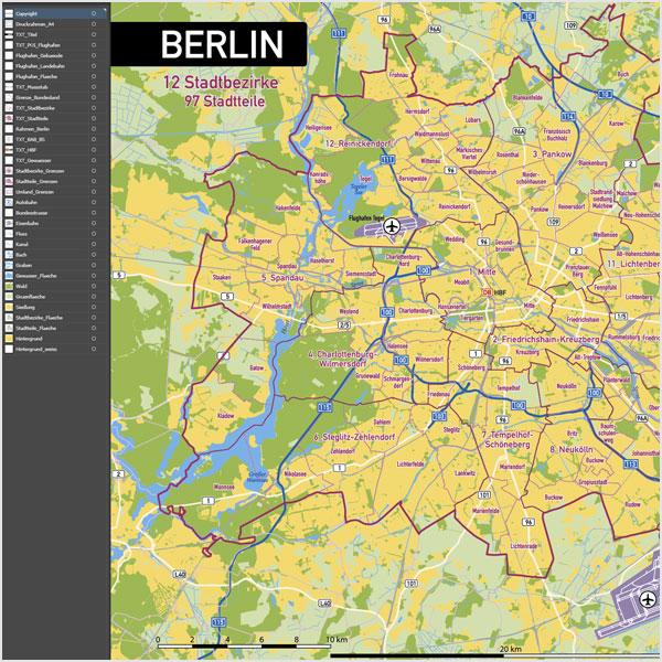 Karte Berlin Stadtbezirke Stadtteile Topographie Vektorkarte