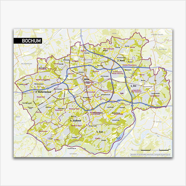 Karte Bochum Stadtplan Stadtbezirke Stadtteile Topographie Vektorkarte Bochum