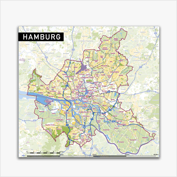 Karte Hamburg Stadtplan Stadtbezirke Stadtteile Topographie Vektorkarte Hamburg