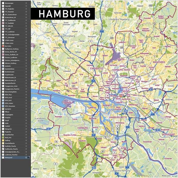 Vektorkarte Hamburg Stadtbezirke Stadtteile Topographie Stadtplan Vekorkarte