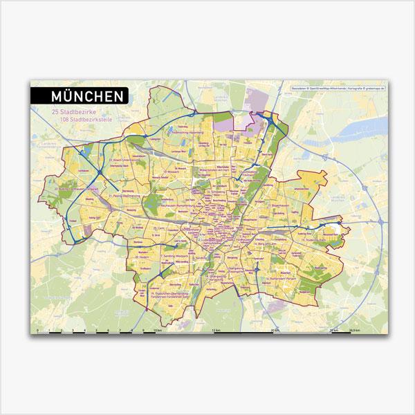 Karte München Stadtplan Stadtbezirke Stadtteile Topographie Vektorkarte München