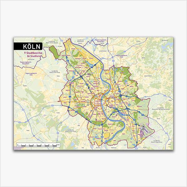 Karte Köln Stadtplan Stadtbezirke Stadtteile Topographie Vektorkarte Köln