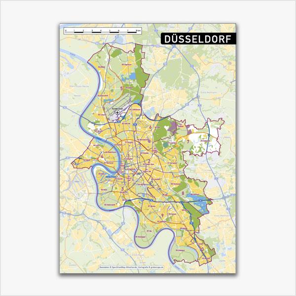 Karte Düsseldorf Stadtplan Stadtbezirke Stadtteile Topographie Vektorkarte Düsseldorf