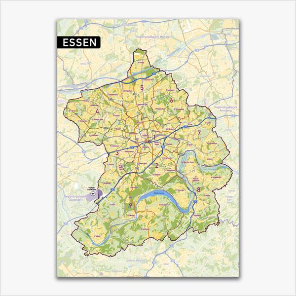 Karte Essen Stadtplan Stadtbezirke Stadtteile Topographie Vektorkarte Essen