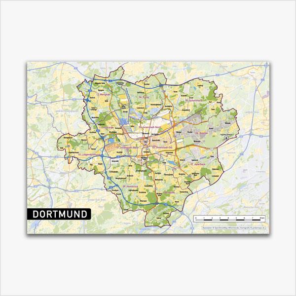 Karte Dortmund Stadtplan Stadtbezirke Topographie Vektorkarte Dortmund
