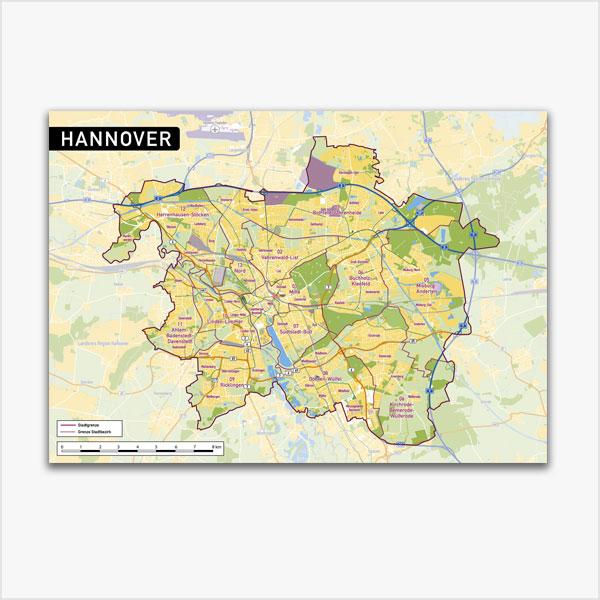 Karte Hannover Stadtplan Stadtbezirke Topographie Vektorkarte Hannover