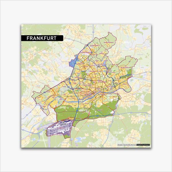 Karte Frankfurt am Main Stadtplan Stadtbezirke Stadtteile Topographie Vektorkarte Frankfurt am Main