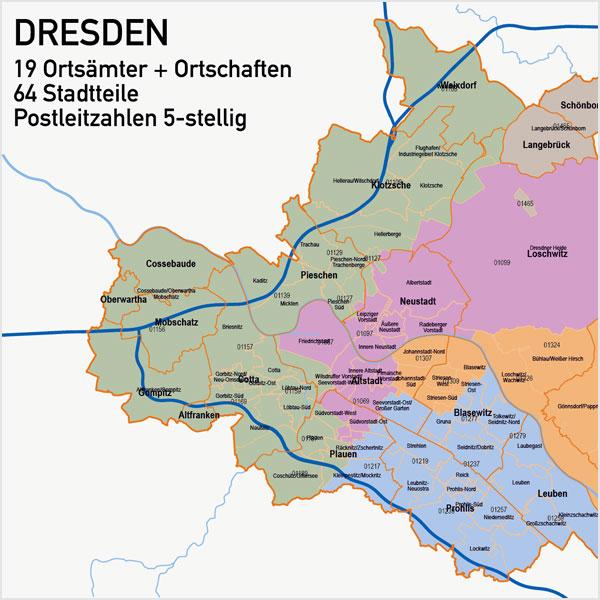 Karte Dresden Stadtbezirke Stadtteile Postleitzahlen 5-stellig PLZ-5 Vektorkarte Dresden