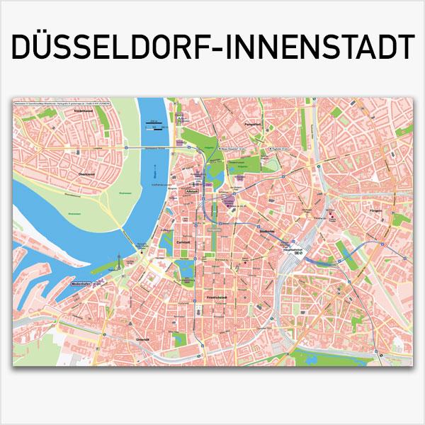 Karte Düsseldorf-Innenstadt Stadtplan Basiskarte Vektorkarte Düsseldorf