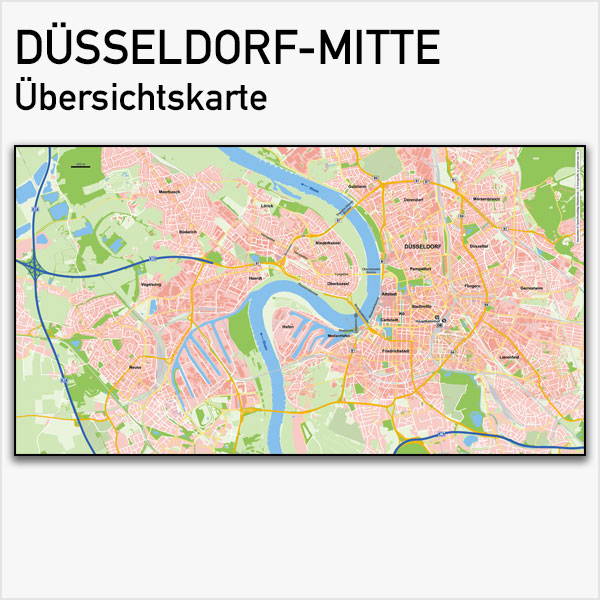Karte Düsseldorf-Mitte Übersichtskarte Basiskarte Vektorkarte Düsseldorf-Mitte