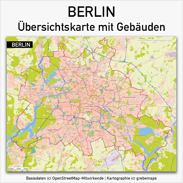 Karte Berlin mit Gebäuden Topographie Stadtteilen Stadtbezirken Übersichtskarte Vektorkarte