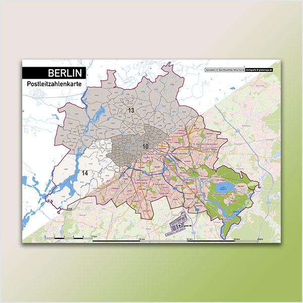 Karte Berlin Stadtplan Postleitzahlen 5-stellig PLZ-5 Topographie Stadtbezirke Stadtteile Vektorkarte Berlin