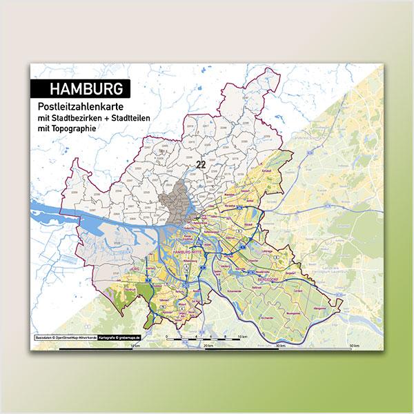 Karte Hamburg Stadtplan Postleitzahlen 5-stellig PLZ-5 Topographie Stadtbezirke Stadtteile Vektorkarte Hamburg