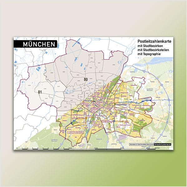 Karte München Stadtplan Postleitzahlen 5-tellig PLZ-5 Topographie Stadtbezirke Stadtteile Vektorkarte München Postleitzahlenkarte