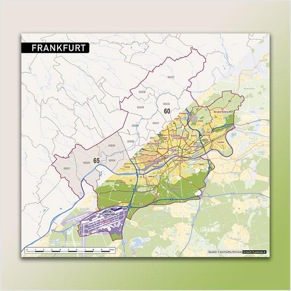 Karte Frankfurt Stadtplan Postleitzahlen 5-stellig PLZ-5 Topographie Stadtbezirke Stadtteile Vektorkarte Frankfurt
