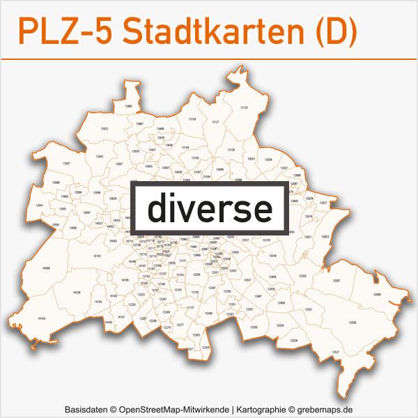 Karten Postleitzahlen-Karten 5-stellig PLZ-5 Stadtkarten Deutschland