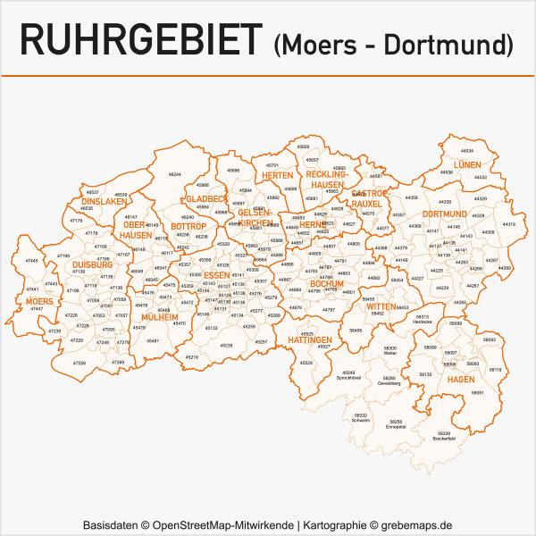 Karte Ruhrgebiet Postleitzahlen 5-stellig PLZ-5 Gemeinden Vektorkarte Ruhrgebiet Postleitzahlenkarte