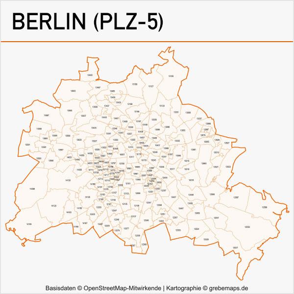 Karte Berlin Postleitzahlen PLZ-5 (5-stellig) Vektorkarte