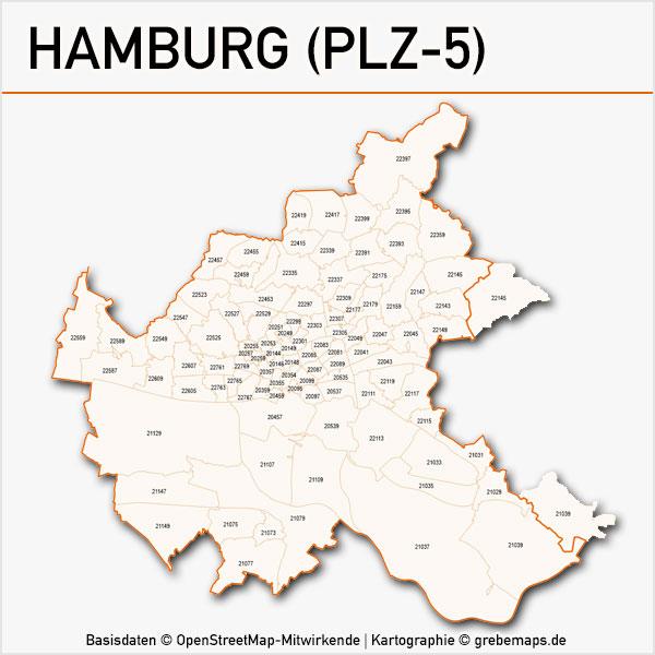 Karte Hamburg Postleitzahlen 5-stellig PLZ-5 Vektorkarte Hamburg Postleitzahlenkarte