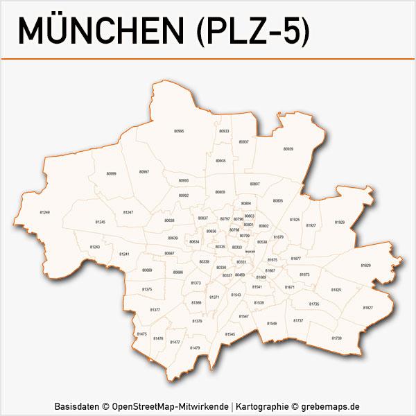 Karte München Postleitzahlen 5-stellig PLZ-5 Vektorkarte München Postleitzahlenkarte