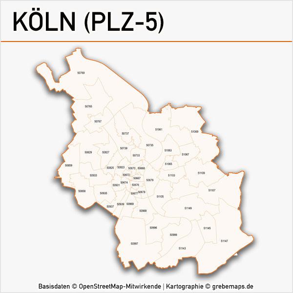Karte Köln Postleitzahlen 5-stellig PLZ-5 Vektorkarte Köln Postleitzahlenkarte