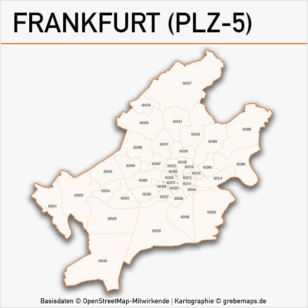 Karte Frankfurt Postleitzahlen 5-stellig PLZ-5 Vektorkarte Frankfurt