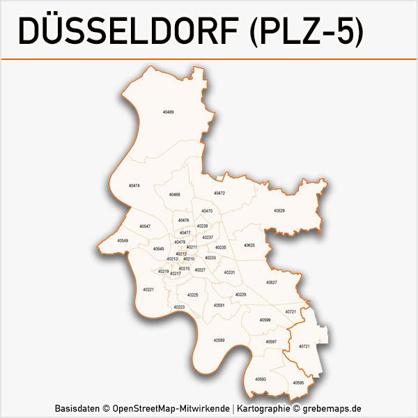 Karte Düsseldorf Postleitzahlen 5-stellig PLZ-5 Vektorkarte Düsseldorf