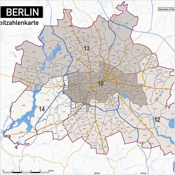 Karte Berlin Postleitzahlen PLZ-5-2 (5-stellig, 2-stellig) Vektorkarte