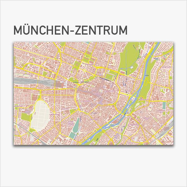 Karte München-Zentrum Stadtplan mit Gebäuden Basiskarte Vektorkarte München