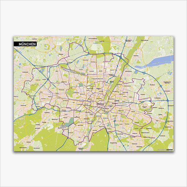 Karte München Stadtplan mit Gebäuden Vektorkarte München