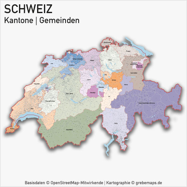 Karte Schweiz Kantone Gemeinden Vektorkarte