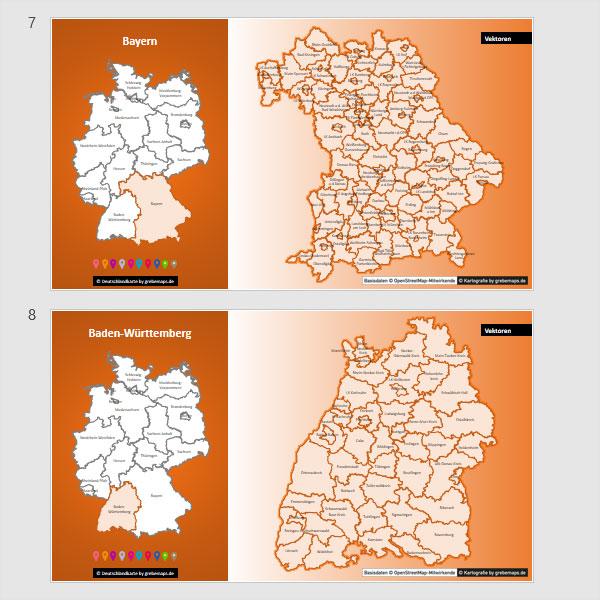 PowerPoint-Karte Deutschland Landkreise Bundesländer, mit schönen Bitmap-Basiskarten