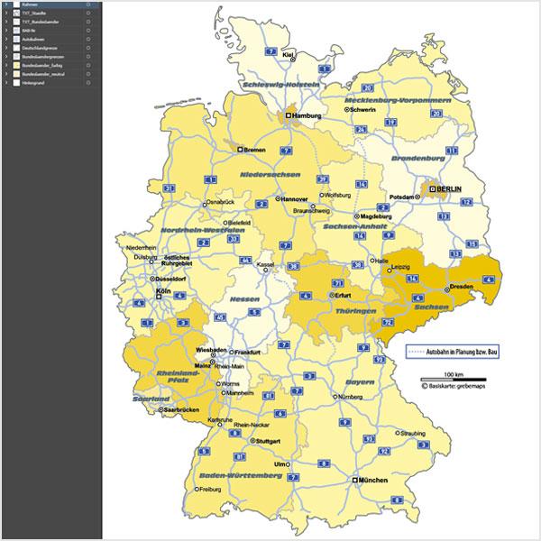 Karte Deutschland Bundesländer Autobahnen mit Landeshauptstädten Vektorkarte