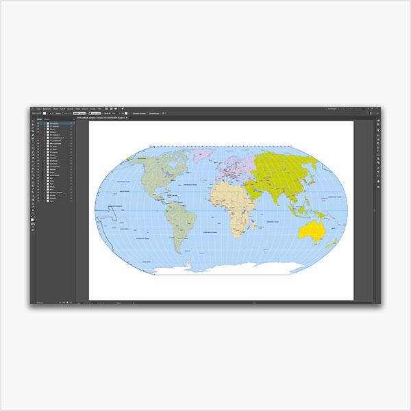 Karte Weltkarte Robinson Vektorkarte