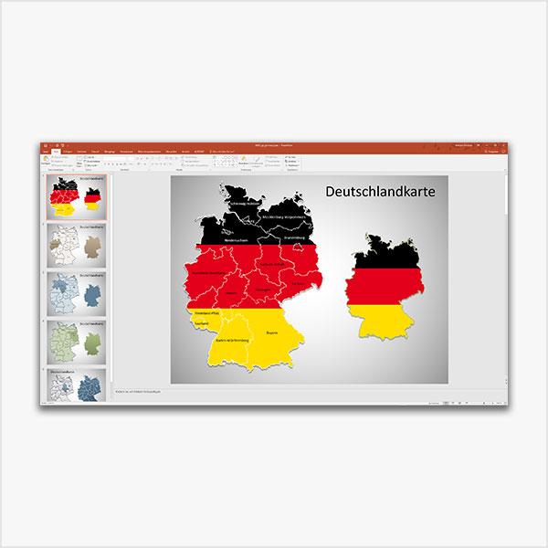 PowerPoint-Karte Deutschland Bundesländer Karte für PowerPoint