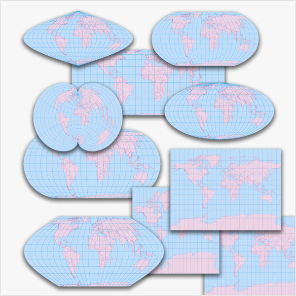 Karte Weltkarten-Bundle (10 verschiedene Karten-Darstellungen) Vektorkarte