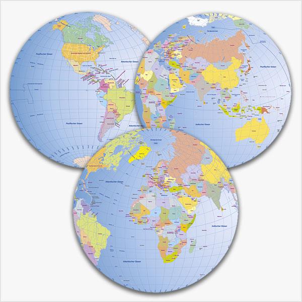 Karte Weltkarte Globen Bundle (3 Globen-Darstellungen) Vektorkarte
