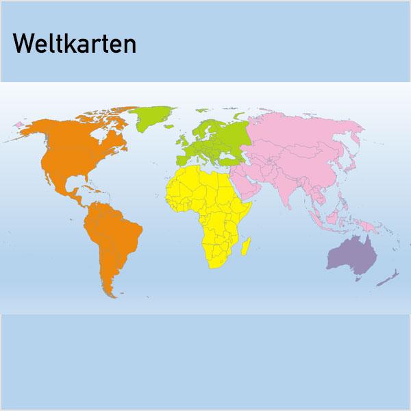 PowerPoint-Karte Welt | Weltkarte Gall | Weltkarte Mollweide | Weltkarte Eckart IV | Weltkarte Robinson Weltkarten