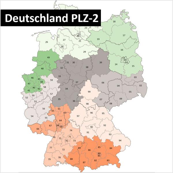 PowerPoint-Karte Deutschland Postleitzahlen PLZ-2 (2-stellig) mit Bundesländergrenzen Karte Postleitzahlen Deutschland Postleitzahlenkarte