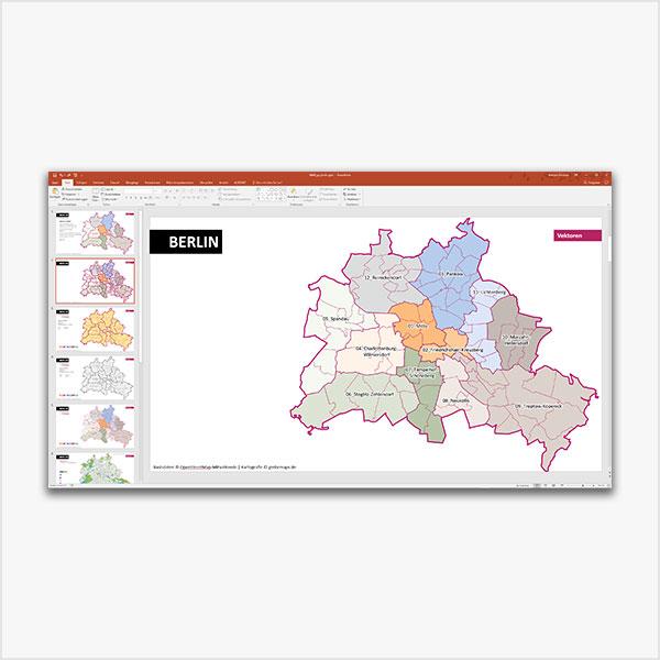 PowerPoint-Karte Berlin mit Bezirken und Stadtteilen, mit diversen topographischen Bitmap-Basiskarten PowerPoint-Landkarte Karte für PowerPoint