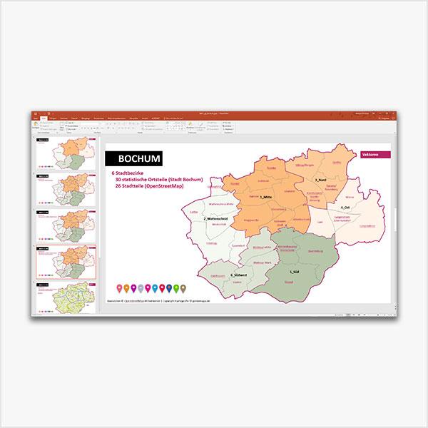 PowerPoint-Karte Bochum mit Bezirken und Stadtteilen