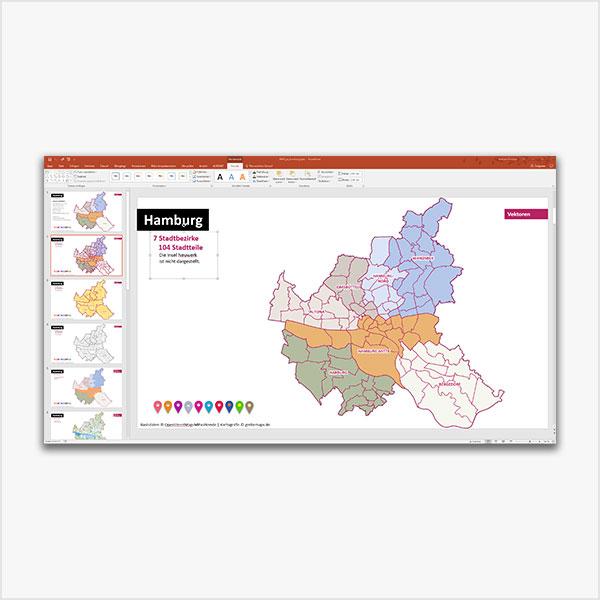 PowerPoint-Karte Hamburg mit Bezirken und Stadtteilen, mit diversen topographischen Bitmap-Basiskarten Karte Hamburg PowerPoint