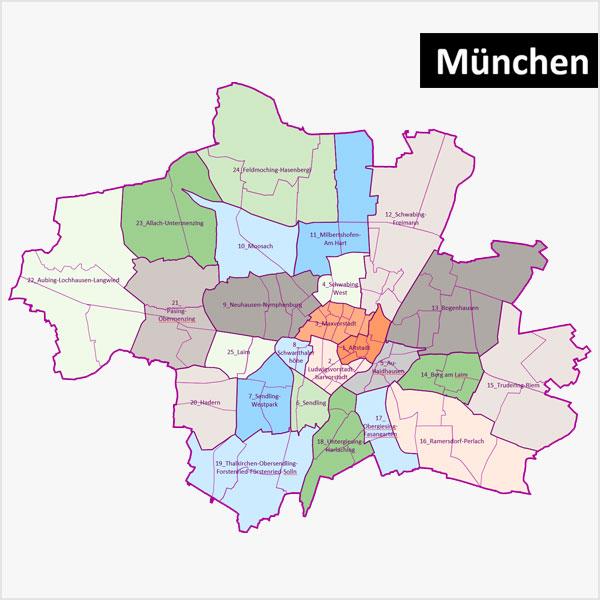 PowerPoint-Karte München mit Bezirken und Stadtteilen (Stadtbezirksteilen), mit diversen topographischen Bitmap-Basiskarten Karte München PowerPoint