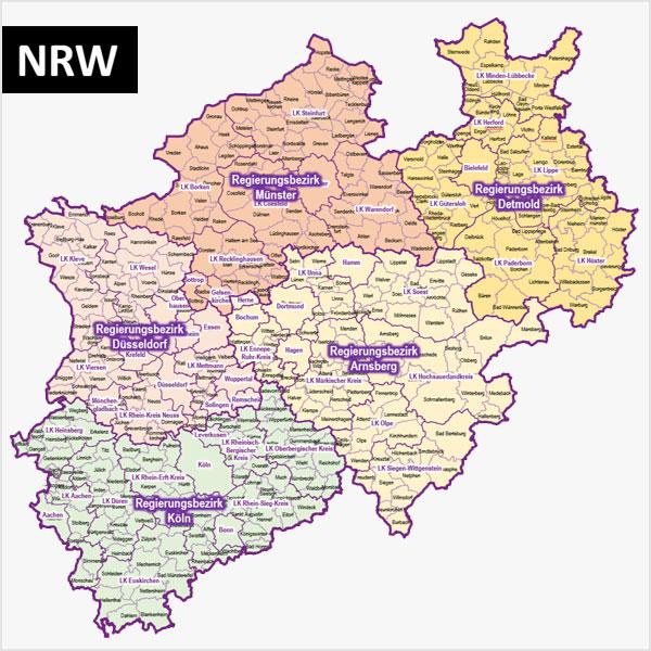 PowerPoint-Karte Nordrhein-Westfalen NRW Gemeinden Landkreise Regierungsbezirke, mit topographischen Bitmap-Basiskarten, mit zusätzlicher Deutschland-Karte mit Bundesländern Karte NRW Karte Nordrhein-Westfalen